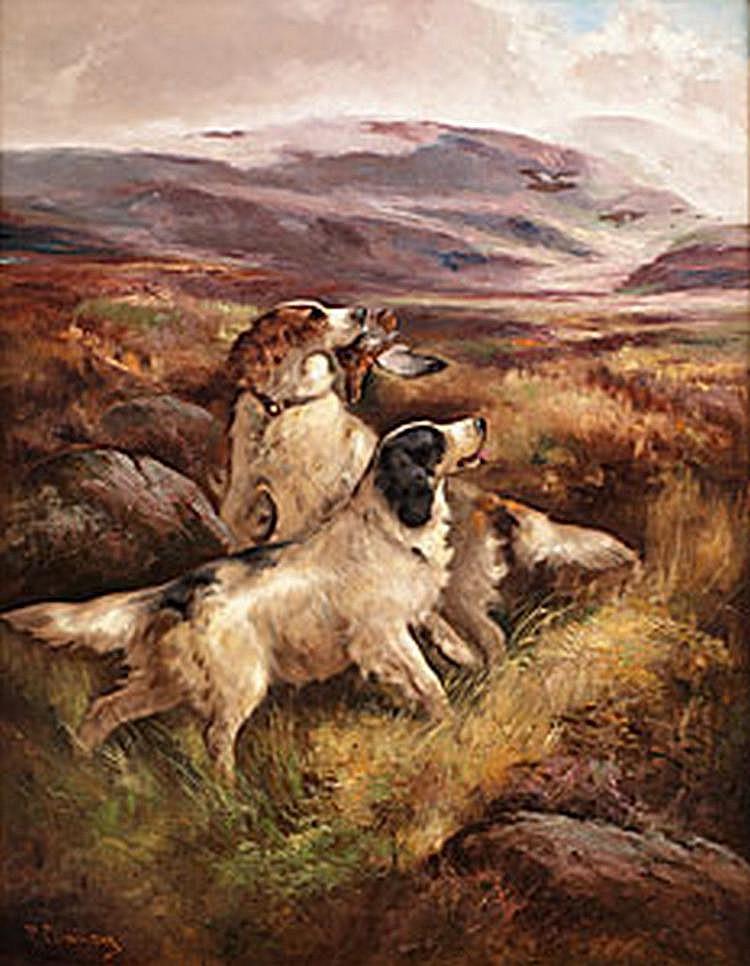 Utl. måleri CLEMINSON, ROBERT Fågelhundar i