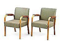 AINO AALTO, ARMCHAIR 46, A PAIR. Varnished birch.