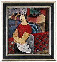 WALDEMAR LORENTZON, Kvinna på balkong. (d)