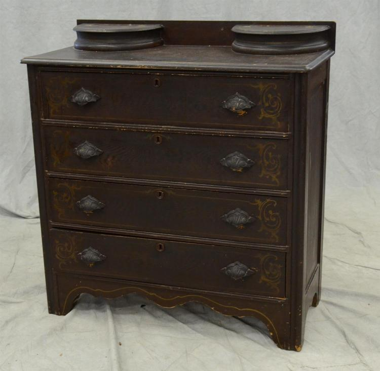 4 drawer cottage bureau original grained finish carved pul