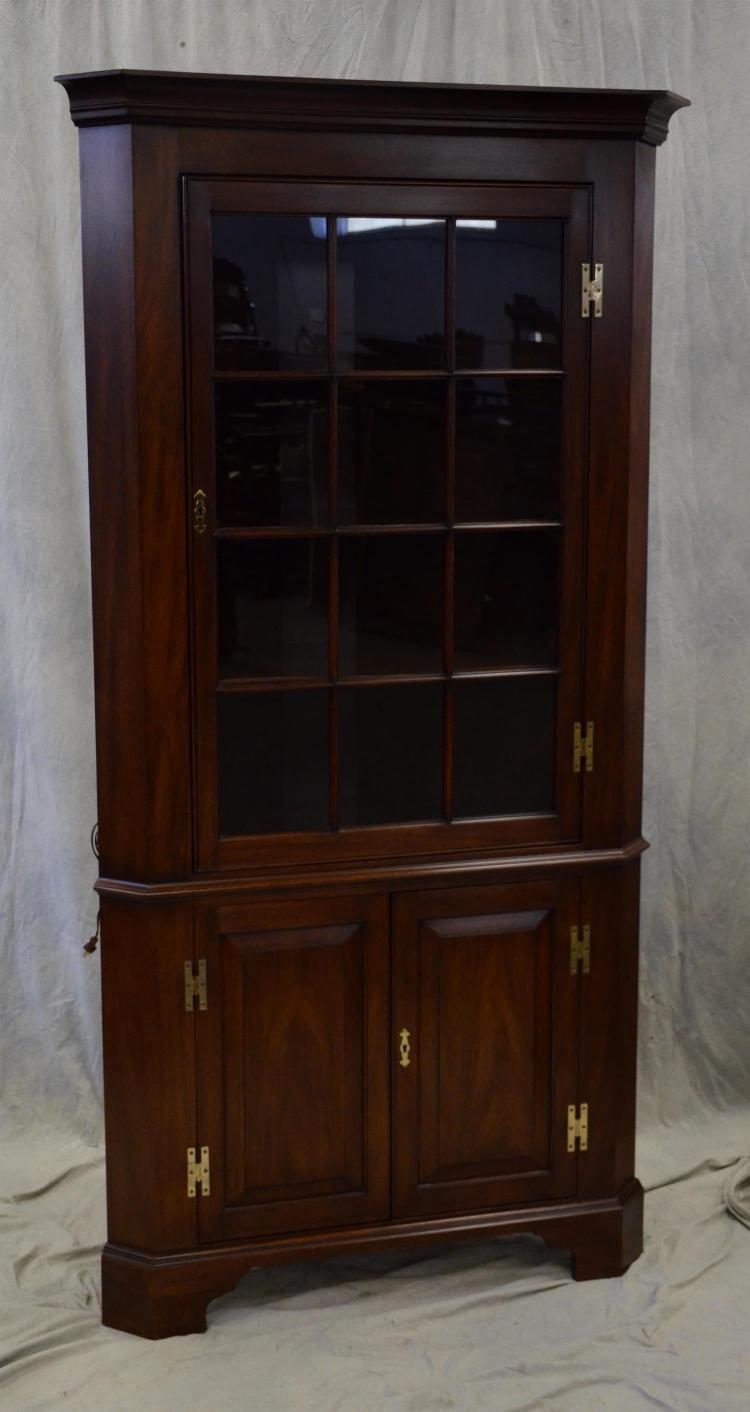 Henkel Harris Mahogany Corner Cabinet Glass Door Over Two Doors