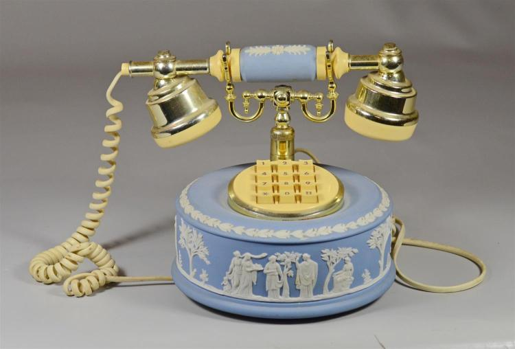 Wedgwood light blue Jasperware push-button phone, impressed