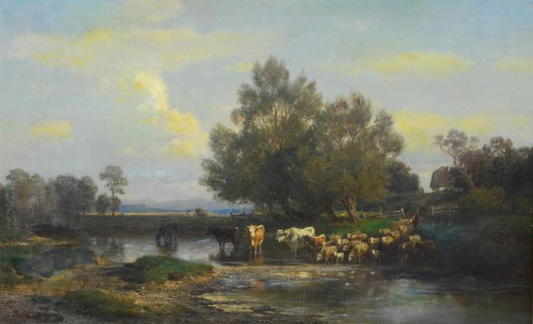 Paul Gottlieb Weber (1823 - 1916) German pastoral landscape painting. Signed and dated 1883 lower left.  Oil on canvas. Measures 20 ...
