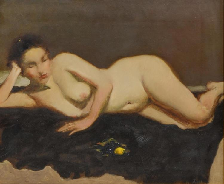 Contemporary oil painting of a female nude, indiscernibly signed lower right, dated 1999, Oil on canvas, sight size 14