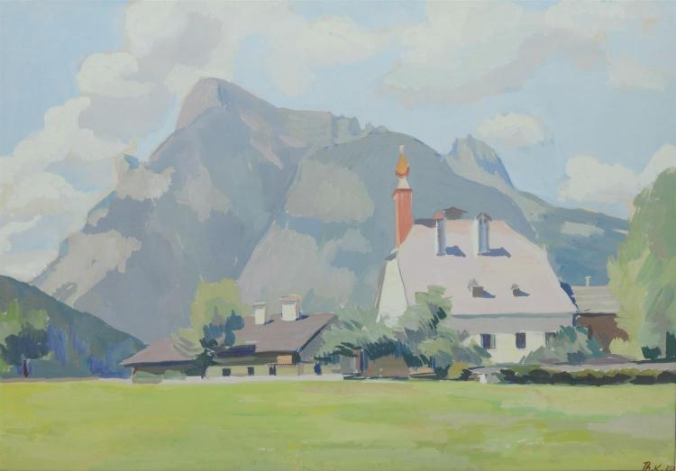 European Impressionist gouache landscape painting, signed lower right Th. K. ''29.  Gouache on paper. Measures 21 1/4