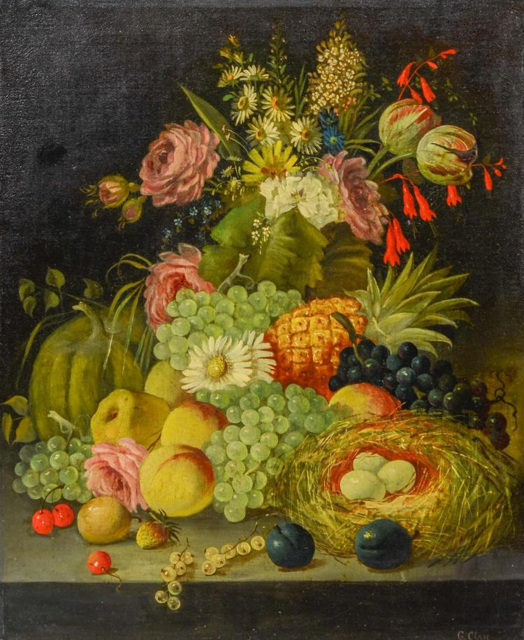 George Clare, British (1835 - 1900) Still life painting of fruit. Signed G. Clare lower right. Oil on canvas mounted on masonite. 2...