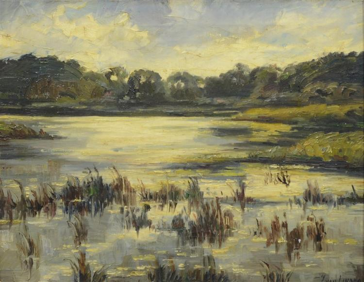 J Van Linden, Belgian, Marsh landscape, oil on canvas, Signed J van Linden lower right, measures 13 3/4