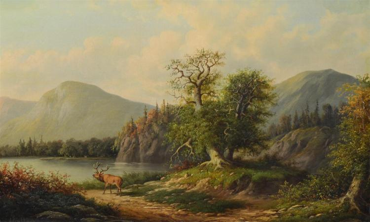 J. Walther German Landscape Painting w/ Elk. Signed lower left. Oil on canvas. Oil on canvas. 35