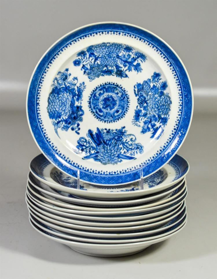 (11) Chinese Export blue & white Fitzhugh pattern shallow bowls, assembled set, 9-1/2