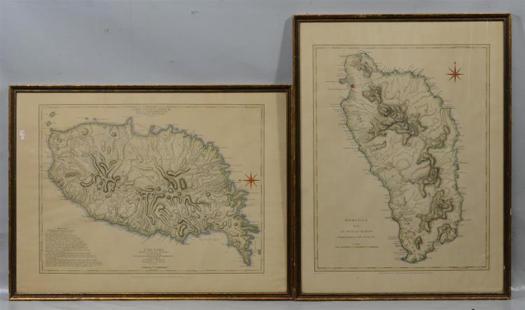 (2) 1968 replica Caribbean maps, Granada and Dominica, Barre Publishers, London, 18