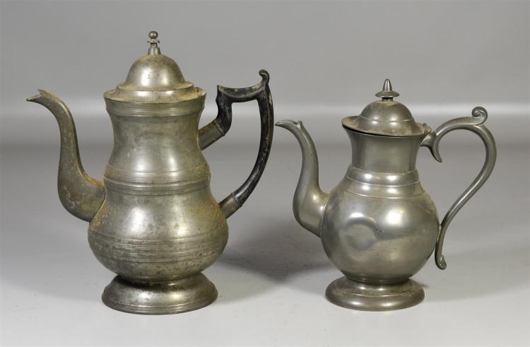 (2) 19th c pewter tea pots, one signed Roswell Gleason, 10