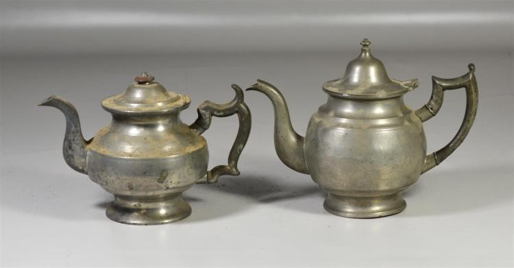 (2) 19th c pewter tea pots, one signed TD & S, for Thomas Danforth & Sons, 7 3/4