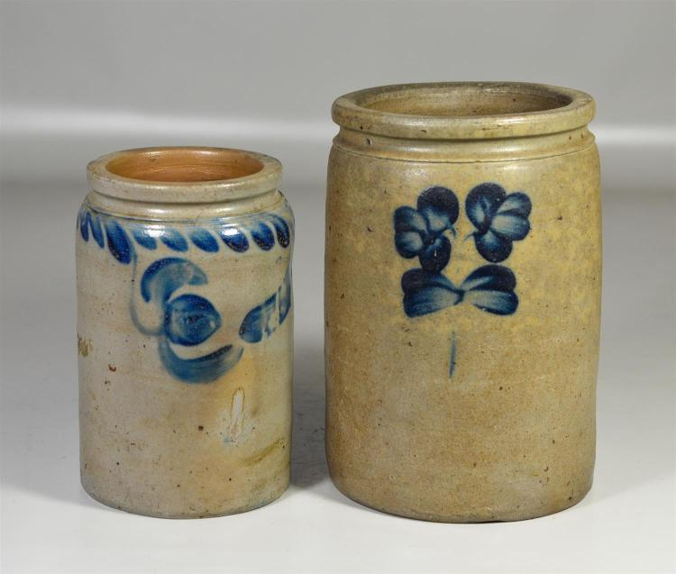 (2) Blue decorated stoneware preserve jars, 8 1/2