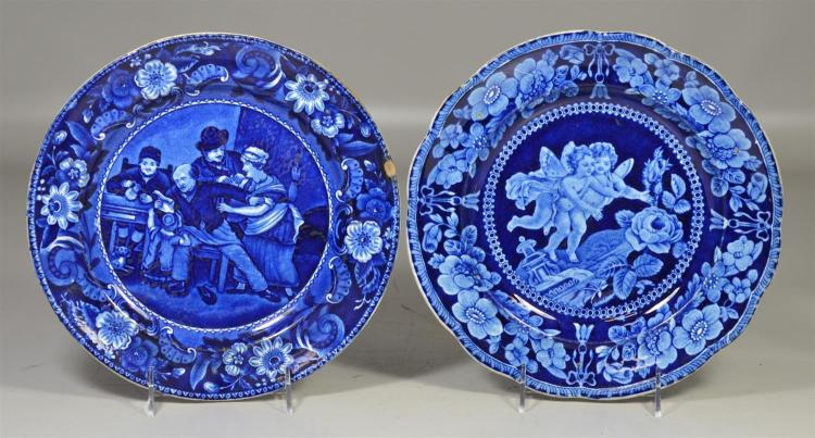 (2) blue transfer Staffordshire plates, The Valentine, by Clews, From Wilkies Design, 1/4