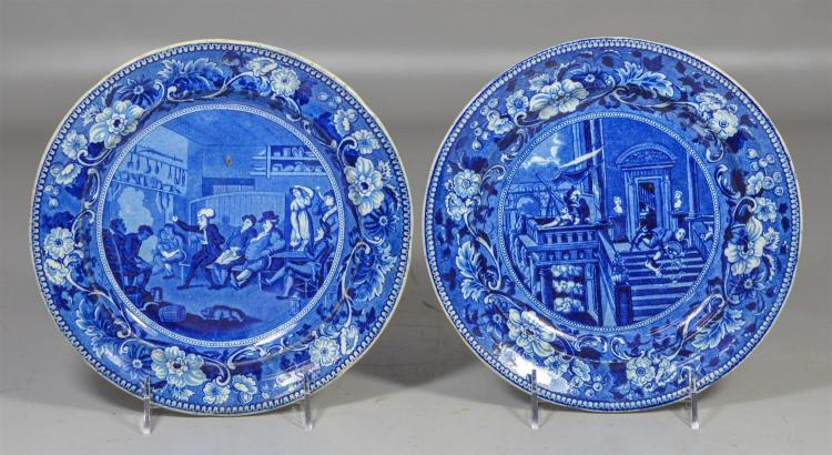 (2) Clews blue transfer Staffordshire Dr Syntax plates, Star Gazing, Teaching his Tour, 9