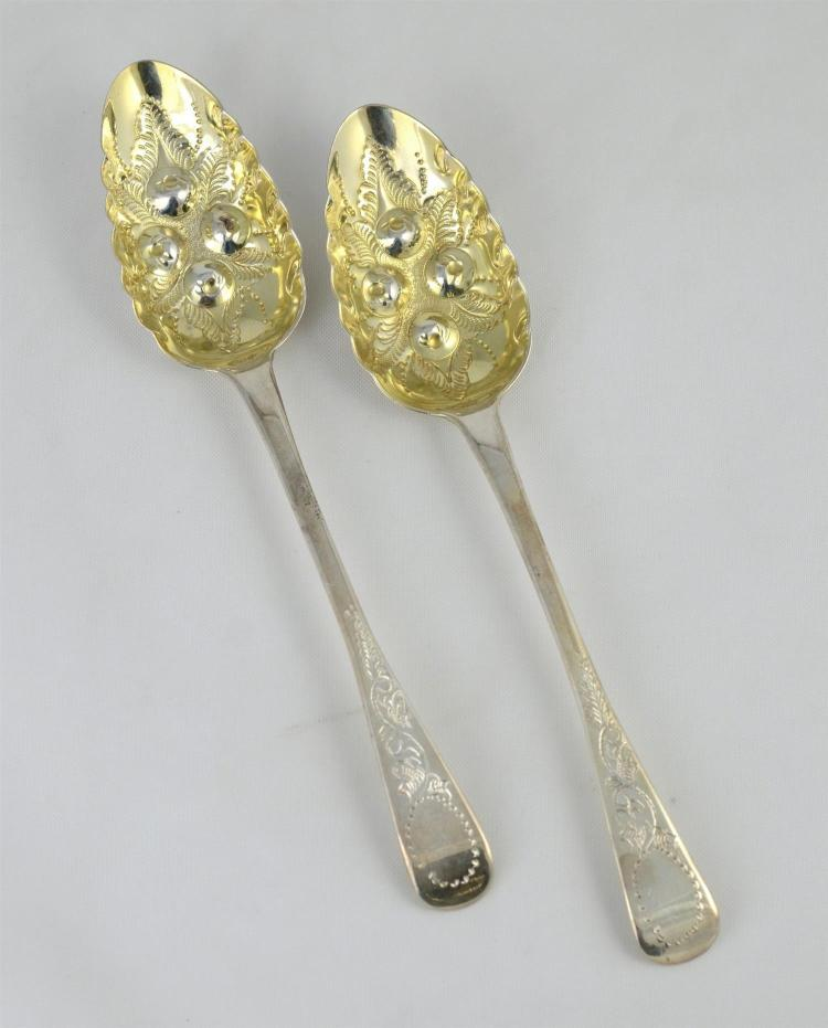 (2) George III silver berry spoons, engraved handles, repousse bowls, 3.83 TO, 8 3/4