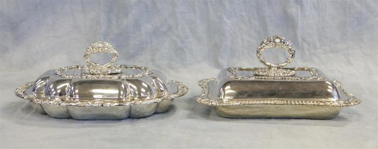 (2) Mappin & Webb plated silver covered dishes, 12