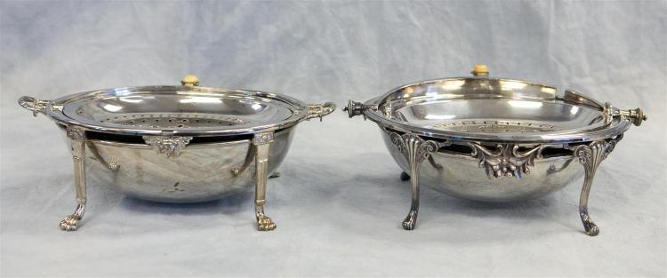 (2) oval revolving top plated serving stands, HS&S, Ltd; JR&S, about 13