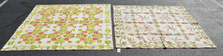 (2) patchwork quilts, pinwheel design with vine border, red and gree, 75