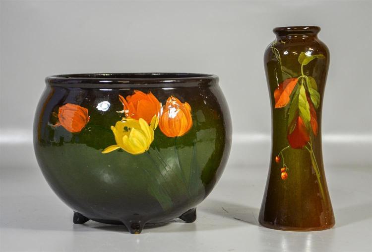 (2) pcs standard glaze pottery, Owens vase, berry decoration, 10 1/2