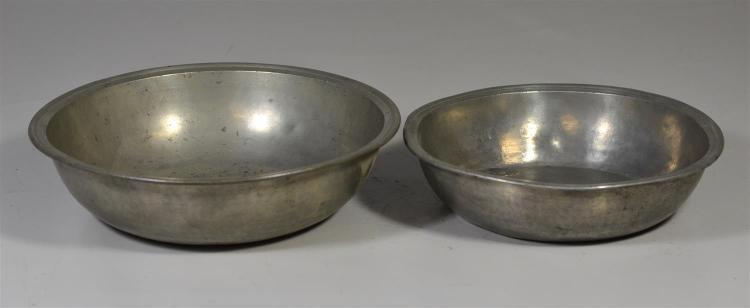 (2) pewter basins, Townsend, 9 1/4