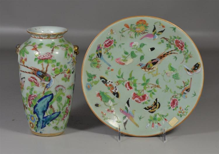 (2) pieces of Chinese Famille Rose enameled celadon porcelain to include a vase with hairline at neck, together with a plate, both d...