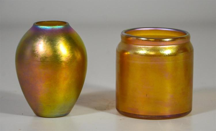 (2) small signed Quezal vases, tallest 3 1/2