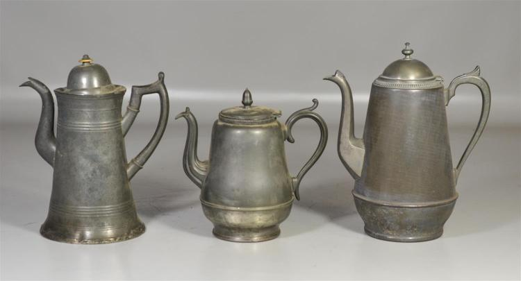 (2) tin and one pewter coffee pot, some dents, 11