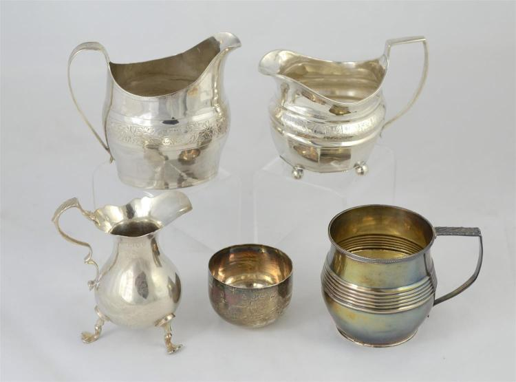 (3) English silver creamers & 2 cups, (2) c 1800-10 creamers, Victorian baluster form creamer, handled mug, 1816, London; handleless...