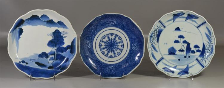 (3) Japanese blue and white chargers, largest approximately 10 1/2