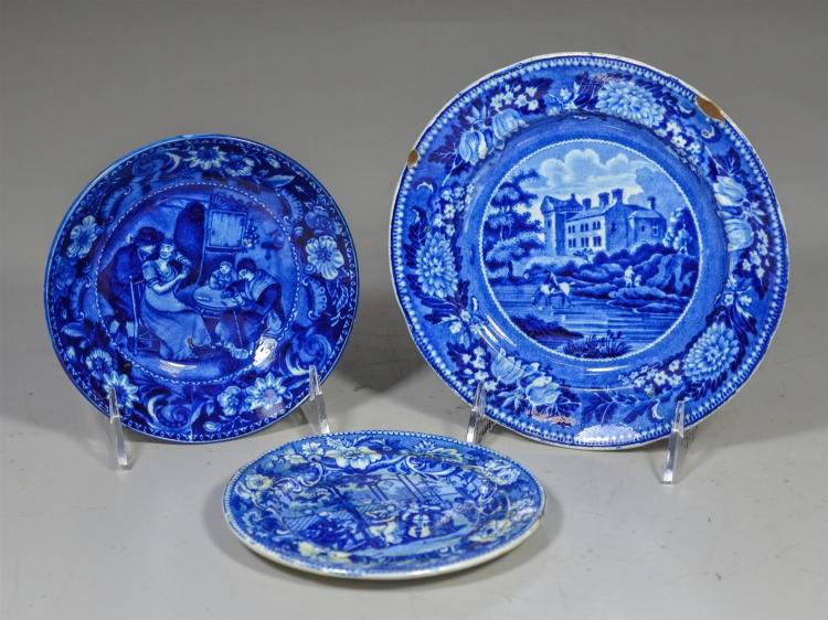 (3) pcs blue transfer Staffordshire, saucer, Christmas Day, by Clews, 5 3/4