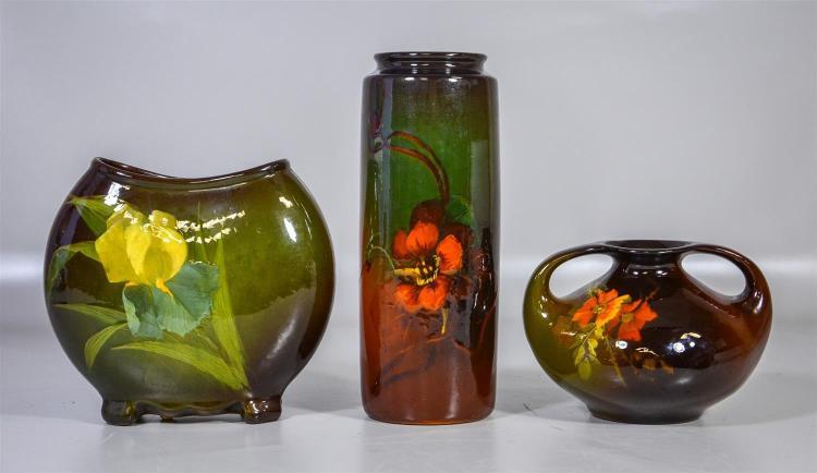 (3) pcs Weller Louwelsa, floral decorated, pillow vase, 7 1/2