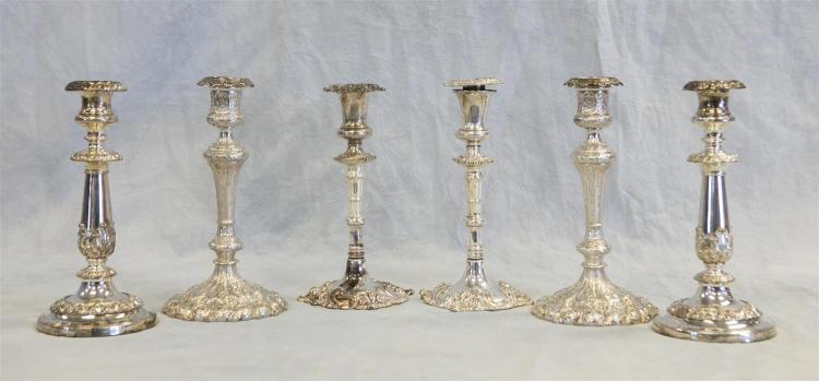 (3) pr plated silver candlesticks, 19th/early 20th c, tallest 9 3/4