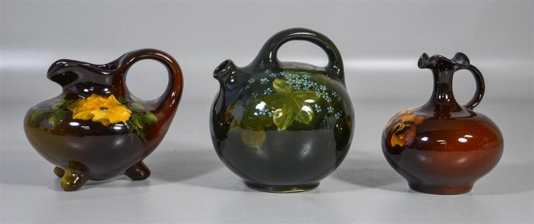 (3) Weller Louwelsa pitchers, floral decorated, 6 1/4