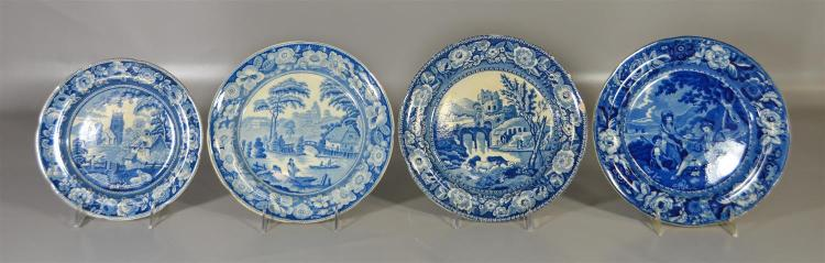 (4) blue transfer Staffordshire plates, The Shepherd, by E&G Phillips, Longport, 10