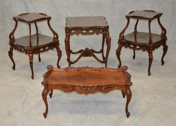 (4) figural cherub carved mahogany tables, pr 2 tier lamp tables, 33