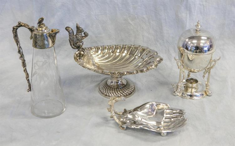 (4) pcs plated silver, shell form nut compote with squirrel handle, 8 1/4