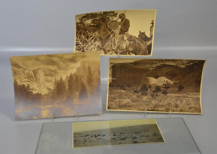 (4) US Western themed photos, c 1925-1935, Native American on Horseback, Buffalo on North Rim of Grand Canyon, White House-Cliff Dwe...