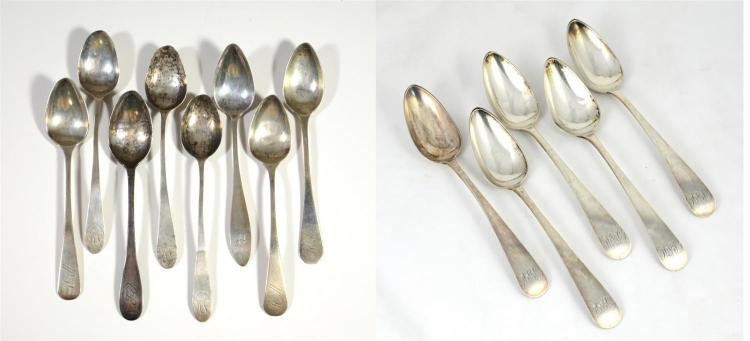 (5) Lewis & Smith coin silver tablespoons, Philadelphia, c 1805-1811, monogram, 9