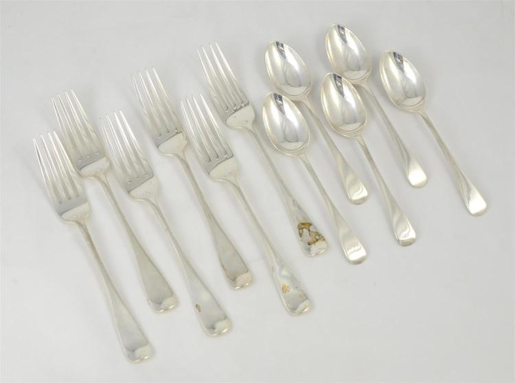 11 pcs Sterling flatware, to include: (5) Sheffield sterling teaspoons, 1899, (6) London sterling dinner forks, 1980, 13