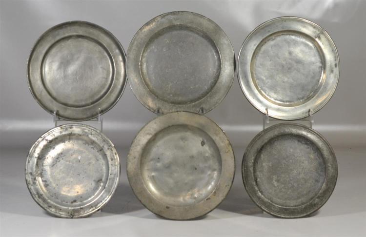 (6) asst''d pewter plates, largest 9 1/4