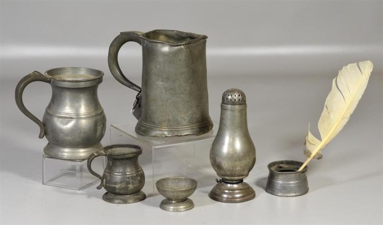 (6) pcs 18/19th c pewter, 3 measures, inkwell, pedestal salt, shaker, tallest 6 1/2