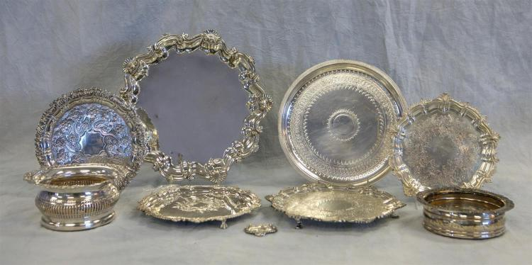 (6) plated silver salvers/trays, largest 12