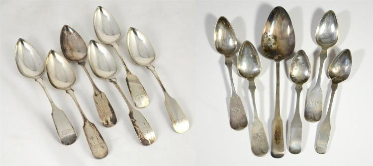 (6) W Baily coin silver table spoons, monogram, William Baily Jr, active in Philadelphia 1816-1843, 8.66 TO; with 6 other coin silve...