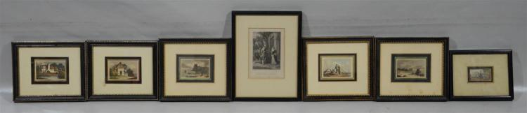 (7) aquatint English prints, several w/publication info verso, icluding one