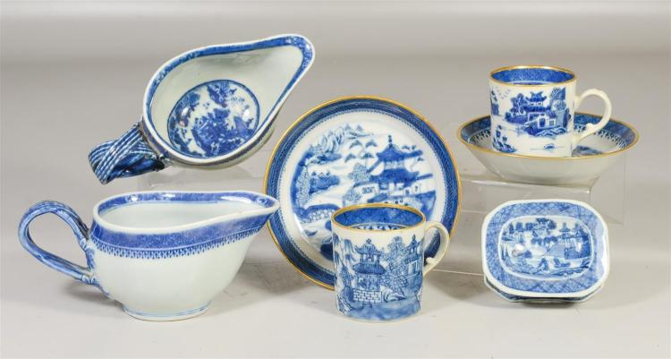 (7) Pieces Chinese Export blue & white porcelain, 2 Nanking double strap handle sauce boats, 2 Nanking cups & saucers with English g...