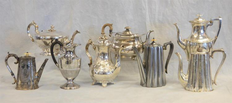 (7) plated silver and 1 Britannia teapots, classical and Victorian forms, tallest 10