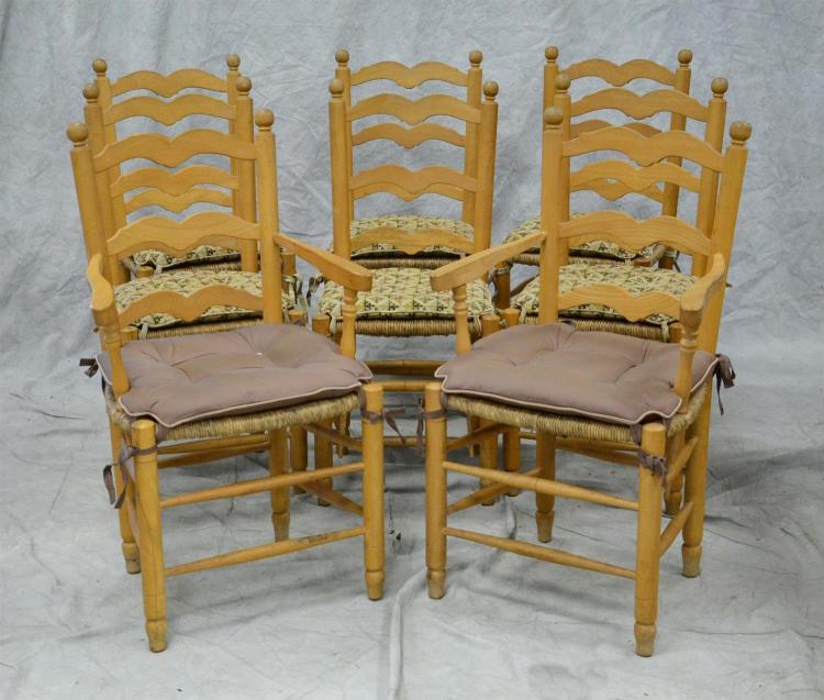 (8) 3 slat ladder back rush seat chairs, 38 1/2