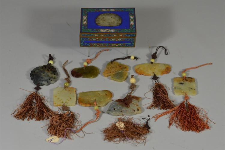 (8) Chinese hard stone carvings, together with a cloisonne box with an inset carved and pierced Chinese jade plaque