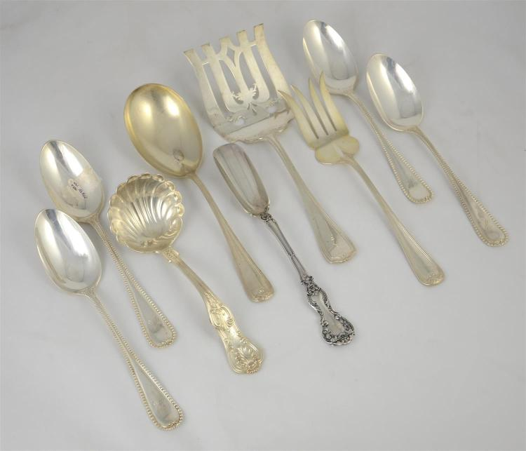 (9) sterling silver serving pieces to include 2 pc salad set, asaparagus server, D&H Kings pattern ladle, Gorham cheese scoop, (4) s...